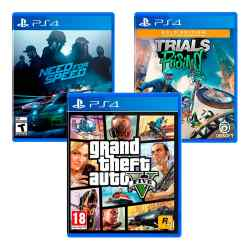 Combo Juegos Grand Theft Auto V + Need for Speed + Trials Rising Gold Edition i450