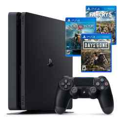 Combo NX 5 PS4 Slim 1 TB + 3 Juegos: Days Gone + God of War 4 + Far Cry 5 i450