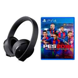 Auriculares PlayStation Gold Headset PS4 7.1 Inalámbrico + PES 2018 i450