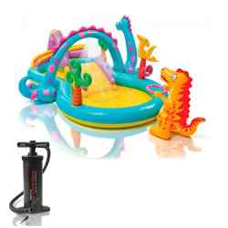 Combo Intex Play Center Inflable Dinoland + Inflador 24386/3 i1