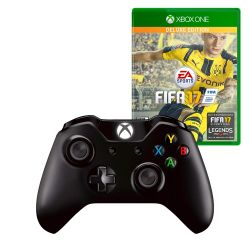 Combo XBOX One S Joystick negro + Cable Wind + FIFA 2017 Deluxe Edition i450